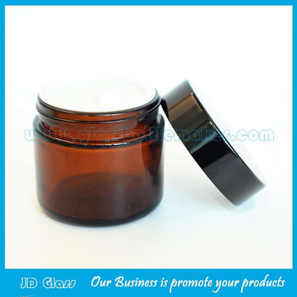 60g Amber Glass Cosmetic Jar With Black Lid