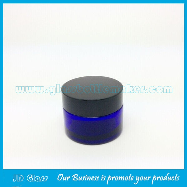 20g,30g,50g Blue Color Round Glass Cosmetic Jars With Lids