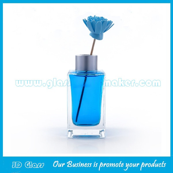 100ml Clear Empty Square Glass Diffuser Bottle With Silver Cap