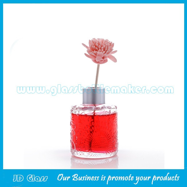 200ml Clear Round Glass Fragrance Bottle With Silver Cap
