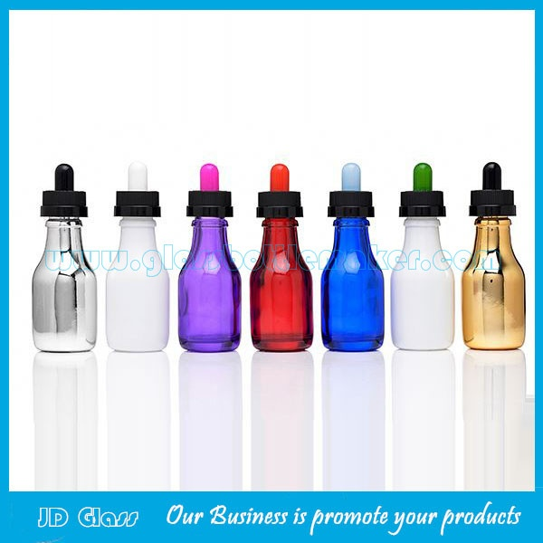 2017 New Style 30ml Colored Electronic Cigarette Oil Glass Bottles With Droppers
