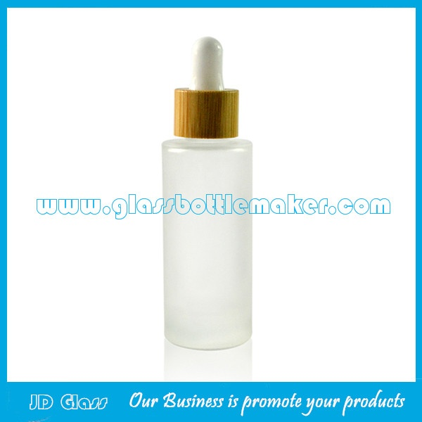30ml Frost Round Glass Essence Bottles With Bamboo Droppers