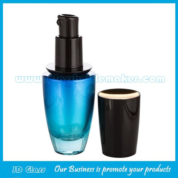 New Item 120ml,40ml,50g,30g Blue Painting Glass Lotion Bottles And Cosmetic Jars  For Skincare
