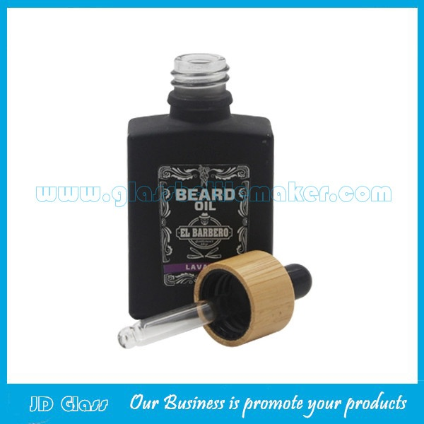 30ml Flat Square Black Electronic Cigarette Oil Glass Bottle With Bamboo Dropper