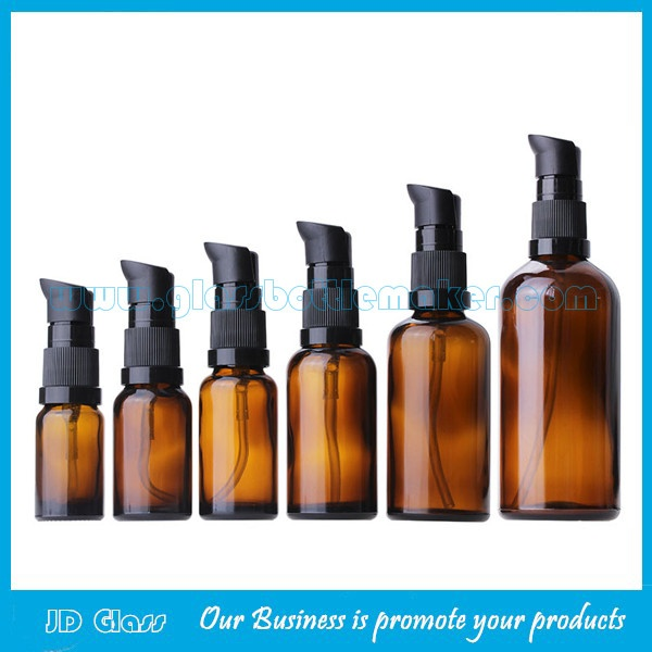 10ml-100ml Amber Essential Oil Glass Bottles With New Style Black Pumps