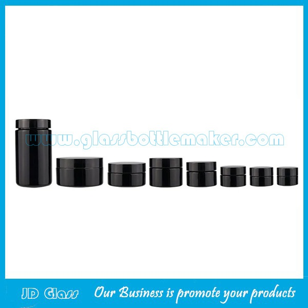 5g,10g,15g,20g,30g,50g,60g,100g,120g,150g,250g,500g Dark Violet Glass Cosmetic Jars With Flat Lids