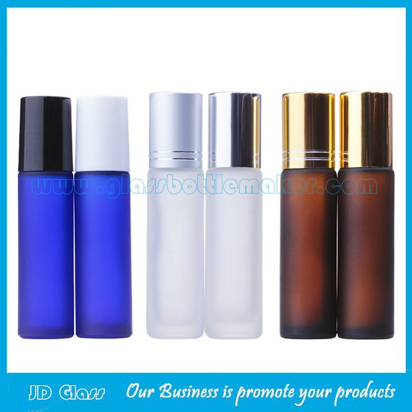 10ml Amber,Blue Frost Round Perfume Roll On Bottles With Caps and Rollers