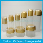 Cylindrical Frost Lotion Glass Bottles and Frost Glass Cosmetic Jars With Double Wall Lids