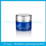 10g Blue Color Painting Round Glass Cosmetic Jar With Silver Lid
