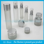 Cylindrical Frost Lotion Glass Bottles and Frost Glass Cosmetic Jars