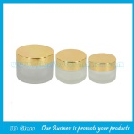 20g,30g,50g Frost Round Glass Cosmetic Jar With Gold Lid