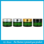 Green Color Round Glass Cosmetic Jars With Lids