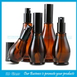 Amber Single Calabash Essential Oil Glass Bottles With Black Pumps