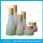 New Item 40ml, 120ml Green and Pink Glass Lotion Bottles With Wood Cap and 50g Glass Cream Jar