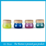 100g New Item Colored Glass Cosmetic Jars With Matched Wood Lids