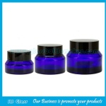 15g,30g,50g Blue Sloping Shoulder Glass Cosmetic Jars With Black Lids