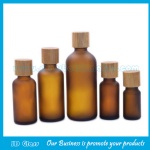 30ml Amber Frost Round Essential Oil Glass Bottles With Bamboo Caps
