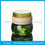 50g Hot Item Green Glass Cosmetic Jar With Wood Lid