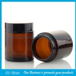 100g Amber Round Glass Cosmetic Jars With Black Lids