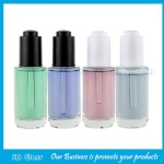 New Item 40ml Clear Round Glass Serum Bottles With Press Droppers