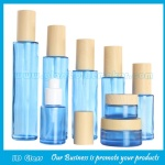 Blue Color Cylinder Glass Lotion Bottles With Wood Cap & Glass Cosmetic Jars With Wood Caps