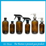 8oz and 16oz Amber Boston Round Glass Bottles With Caps or Trigger Sprayers or Pumps