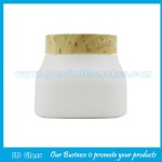 300g New Item Opal White Glass Cosmetic Jar With Wood Lid