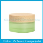 30g Green Painting Round Glass Cosmetic Jar With Wood Lid