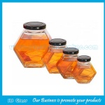100mL,180ml,280ml,380ml,730ml New Item Clear Hexagonal Glass Honey Jar With Lid