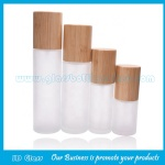 30ml,50ml,60ml,80ml,100ml,120ml Frost Glass Lotion Bottles With Bamboo Caps and Pumps