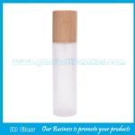 100ml Round Frost Glass Lotion Bottle With Bamboo Cap and Pump